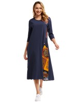 Elegance Blue Queen Size Contrast Color Midi Dress Feminine Fashion