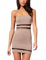 Cheeky Boob Tube Empire Waist Khaki Bodycon Dress Mesh Patchwork Breathable