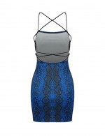 Noble Criss Cross Navy Blue Tight Dress Serpent Pattern Fashion