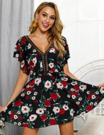 Black Hollow Plunge Neck Flower Mini Dress A-Line All-Match Fashion