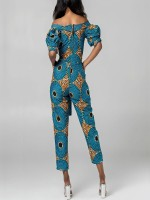 African Style Women's Off Shoulder Wide Leg Mix Color Jumpsuits