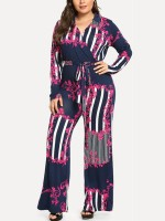 Colorful Rosy Full Sleeves Deep-V Collar Jumpsuit Soft