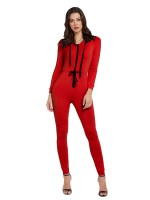 Catching Red Hooded Collar Jumpsuit Tie Waist At Great Prices‎