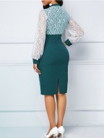 Classic Green Plus Size Midi Dress Split Full Sleeve Fashion Design