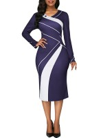 Absorbing Purple Long Sleeve Midi Dress Large Size Button Woman