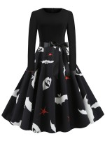 Affordable Long Sleeve Skater Dress Swing Hem All-Match Fashion