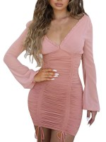 Explicitly Chosen Pink Bodycon Dress Pleated Open Back Zipper