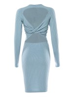 Inviting Blue Long Sleeve Sweater Dress Round Neck Leisure Fashion