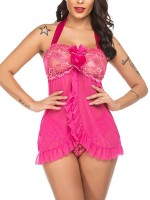 Boudoir Rose Red Mini Length Babydoll Open Back Lace Fashionable Affordable