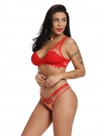 Alluring Red Lace Hem Embroidery Straps Bra Set