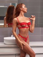 Elegant Red Lace Patchwork Hollow Out Bralette Attractive Wear
