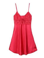Delicate Red Sling Sleepwear Lace Mini Length Allover Slim Fit