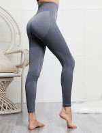 Light Grey Knitted Wide Waistband Yoga Legging Seamless Female