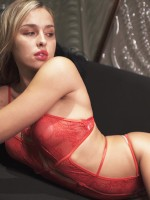 Valentine Red Open Back Lace Teddy Slender Strap Online Affordable