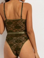 Particularly Army Green Lace Spaghetti Straps Adjustable Teddy