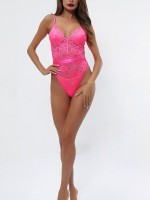 Likable Rose Red Open Back Lace Teddy Slender Strap For Bedtime