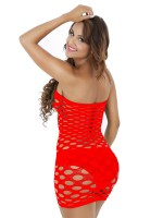 Vanity Red Thigh Length Teddy Eyelet Solid Color Fashion Design