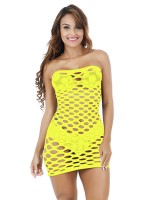 Feminine Yellow Backless Teddy Solid Color Mini Length Fashion Design