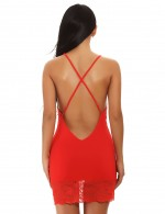 Adorned Red Lace Stitching Cami Straps Crossover Chemise Smoothing Fabric