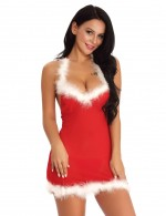 Risque Red Faux Fur Babydoll Backless Christmas With Thong Holiday Sale