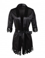 Expensive Black Eyelash Lace Kimono Sleepwear With Sash Inexpensive Online