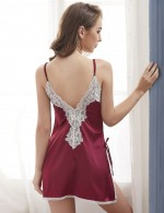 Classy Jujube Red Deep V Neck Satin Lace Stitching Mini Chemise Close Style