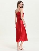 Shimmery Red Adjustable Strap V Neck Sleepwear Open Back For Woman Fashion
