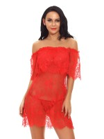 Relaxing Red Babydoll Eyelash Lace Off-Shoulder For Romans
