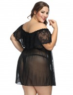 Diaphanous Off Shoulder Black Babydoll Ruched Large Size Fashion Comfort