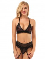 Sweet Black Triangle Lace Bralette Sets With Frill Nice Quality