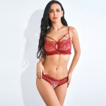Collection Keyhole Red Lace Slender Strap Bralette Set Fashion Online