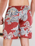 Precious Wine Red Wide Print Contrast Color Short Pants Male Modern Fit