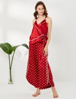 Close Red Knot Wrap V Neck Faux Silk Dot 2 Pcs Sleepwear Sling Slim Woman