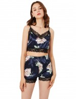 Dark Blue Lace Edge High Waist Flower Sleepwear Set Noble Making