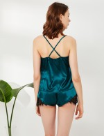 Passion Green Backless Criss Cross Sling Sleepwear Set Nice Quality