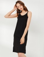 Admiring Black U Neck Plain Sling Midi Length Nightgown Mature Women