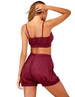 Relaxing Wine Red High Waist Faux Silk Sling Sleepwear Set Plain Comfort