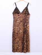 Cozy Leopard V Neck Sling Bow Tie Chemises Backless Romantic Sleepwear