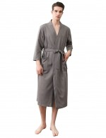 Royal Grey Male Knee Length Plain Pockets Robe Plus Size Honeymoon Midnight