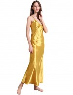 Reversible Yellow V Collar Pure Color Faux Silk Sling Sleepwear Allover Sleek