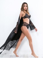 Coquettish Black Lace Patchwork Nightgown Waist Tie For Summer