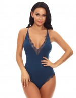 Endless Romance Blue Plunging Collar Teddies Adjustable Cami Strap Slimming