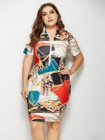 Captivating Midi Dress Turndown Neck Plus Size Understated Design