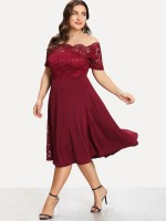 Super Red Lace Midi Dress Off Shoulder Big Size Women Fashion Style