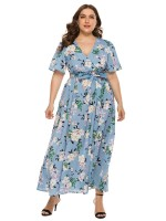 Inspired Light Blue Maxi Dress Flower Print Tie Waist Sexy Ladies
