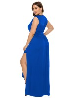 Dynamic Blue Side Slit Sleeveless Large Size Dress Shop Online