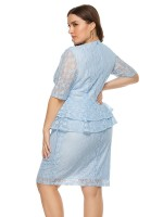 Endearing Light Blue Big Size Dress High Waist Ruffle Trim