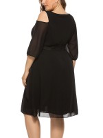Faddish Black Cutout Shoulder Plus Size Dress Crewneck Ultra Sexy