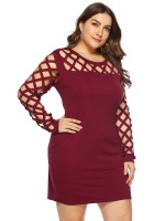 Eye-Appealing Jujube Red Bodycon Dress Big Size Full Sleeves