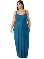 Sheerly Blue Plunge Collar Plus Size Dress Female